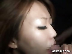 Asian bitch hardcore fucked gets cummed on tits