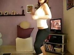 Teen dances in tight leggings