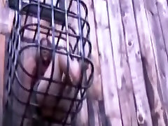 S&M Villein Charlotte Vale in Outdoor Cage