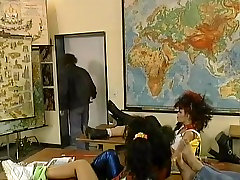Vintage orgy in the classroom with sexy teen students