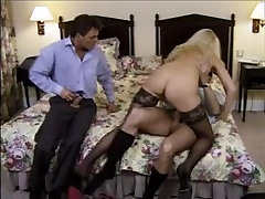 Lydia is spitroasted in threesome on a classic sex tape