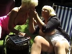 French Threesome with two blonde matures and an old guy