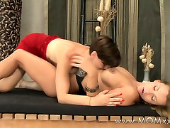 Mom xxx: Lesbian MILF with big tits kisses and orgasms