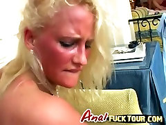 Blonde bitch gets DP in nasty threesome
