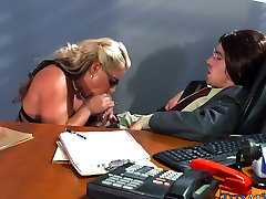 Huge Blonde Tits at Work