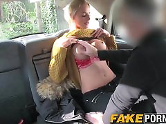 Blonde mom and so firnd with big boobs getting anal in the fake taxi cab