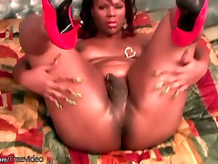 BBW ebony tranny strips bra and panties and jizzes