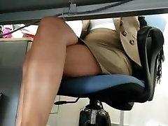 Upskirt under table hidden cam voyeur