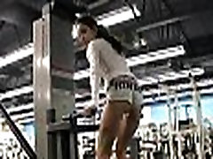 FTV Cute brunette woman flashing tits and pussy at the gym