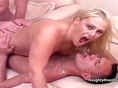 Two repair men fuck a blondes ass and pussy at the same time