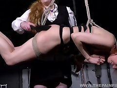 Suspended lesbian whipping and strict lezdom bondage of spanked girl Dirty Mary in masochist adventures and bdsm p