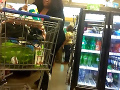 Big BBW booty VPL in the checkout line