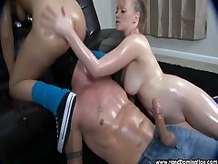 smothered in ass and tits while getting a femdom handjob