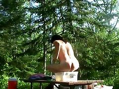Naked ass-flashing in seatless panties by Mark Heffron