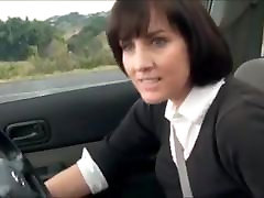 Beautiful hairy mature masturbation in the car