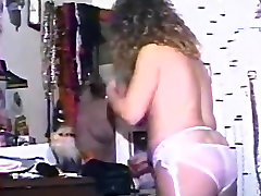 Vintage mom In Stockings Toys And Fingers Hairy Pussy