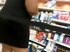 Black Dress BBW Upskirt No Panties