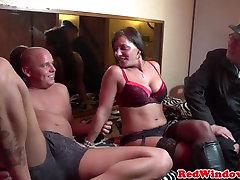 Lingeried dutch hooker mouth jizzed on camera