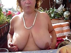 Mature wife play with her boobs