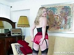 Blonde Aston Wilde tease in vintage lingerie heels nylon strip panties wank