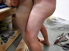 BJ and Pantyhose Fucking on Workbench - Cum on Ass
