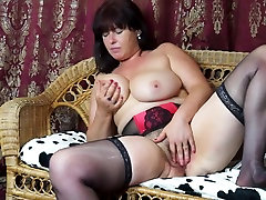 Sexy mature mother Janey with hairy pussy and saggy tits