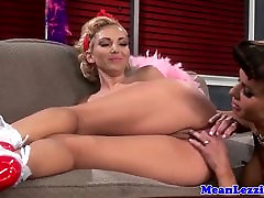 Glamours lesbian fucked in ass with dildo