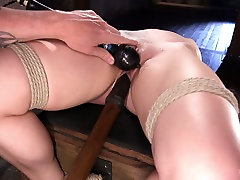 Tied up babe Dahlia Sky is punished and fucked in the dark lenie saint room