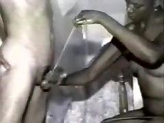 Vintage black girl ballbusting handjob
