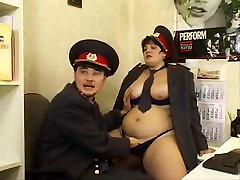 Brunette Shorthair BBW Russian Police Officer Fucks