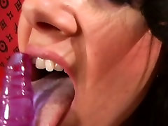 Vicious lesbo gets panties ripped pussy dildoded