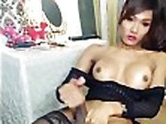Asian TS masturbates cums on webcam-16