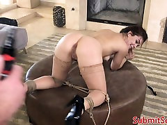 Glam BDSM babe dominated over and assfucked