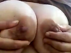 My MILF BBW friend playing with her tits and nipples