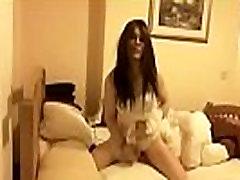 Cute innocent TGirl wanks big hard cock in white lingerie - DickGirls.xyz