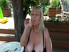 Bit Tit Blonde Granny Outdoors