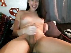 Cute shemale cums on cam
