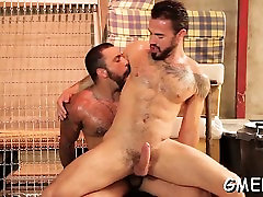 Naked hunks working anal scenes jointly in homosexual show