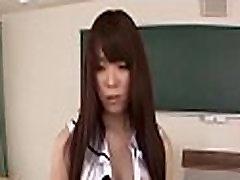 Schoolgirl gets down on her knees