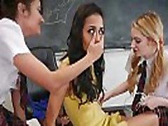 Schoolgirl teens lesbian detention with the teacher