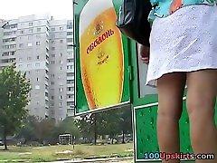Flashing public amateur upskirt outdoor