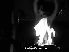 Busty Hairy Girl Dances Naked in the Dark