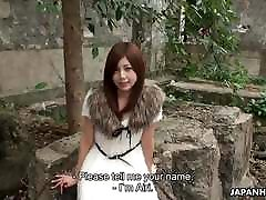 Cute Asian teen gets prepared for her first porn outdoors