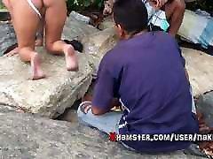 Hot Girl In A See-Through Bodysuit Teasing Fishermen