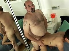 young latin twink satisfying chubby daddy bear
