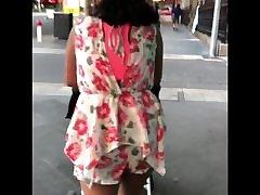 Indian Desi wife walking in shorts public