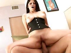 Evie Dellatossas big tits bounce as she rides a gigantic prick