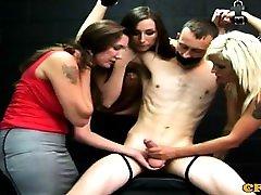 Euro femdoms restrain and tug him
