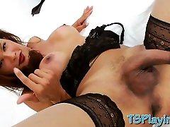 Busty tranny Susy Gomes in lingerie masturbates cock