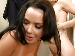 Big titted lesbian girl Angie Savage shoves a toy deep inside her shaved snatch